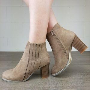 Shoes - Vegan Suede Bock Heel Ankle Bootie - P